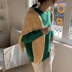 여자 겨울 라운드 비비드 골지 루즈핏 스웨터 티셔츠