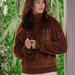여성 레터링 양털 보아 반집업 티셔츠 네이비