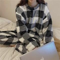 파스텔 빅 체크 커플 파자마 뽀글이 수면 잠옷