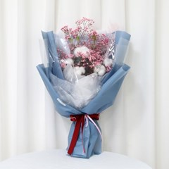 졸업식 입학 기념일 코튼플라워 안개꽃다발 대 블루_(2239237)