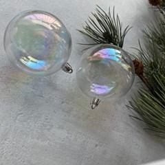 8cm 투명 홀로그램 크리스마스 오너먼트 트리볼 장식[2개set]