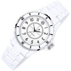 폭스바겐 화이트 아날로그 시계
