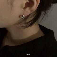 [925실버] 하트큐빅 원터치링 귀걸이