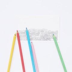 재생지 색종이 5색 색연필 세트 크라프트지 케이스