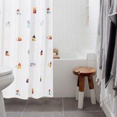 마이홈 방수 패브릭 샤워커튼(커튼링 12P+파우치) 욕실인테리어