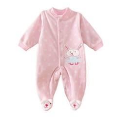 하얀눈 토끼 핑크 발싸개 유아 우주복(3-12) 310173