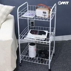 OMT 틈새 공간활용 이동식 3단 철재 트롤리 수납선반 간편설치