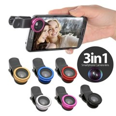 OMT 휴대용 셀카렌즈 어안+광각+접사 3in1 3종세트