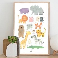 ANIMALS 동물 방수 포스터 A2