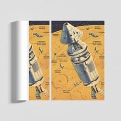레트로 스페이스 일러스트 인테리어 A2 포스터 VER.2