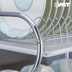 OMT 스테인레스 3단 스탠드 식기건조대 접시 수저통 컵홀더 멀티수납