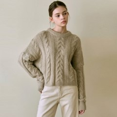 CABLE CROP R KNIT_BEIGE