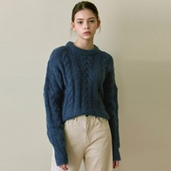 CABLE CROP R KNIT_DEEP BLUE
