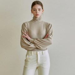 VOLUME TURTLENECK KNIT_BEIGE