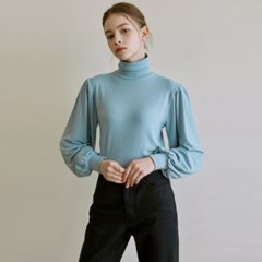 VOLUME TURTLENECK KNIT_SKY BLUE