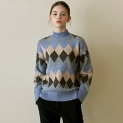 ARGYLE MOCK NECK SWEATER_BLUE