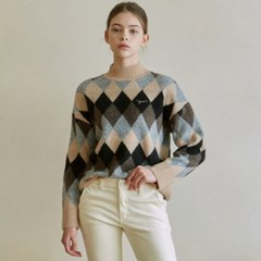 ARGYLE MOCK NECK SWEATER_BEIGE