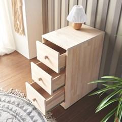 [에띠안]데니우드 소나무 뉴송 원목 3단 슬림 틈새 서랍장 침실 협탁