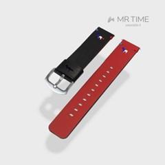 [MR TIME x Maison Kitsune] 메종키츠네 콜라보 시계줄 레드블랙