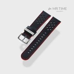 [MR TIME x DUCATI] 두카티 콜라보 시계줄 홀 스티치 레더 블랙