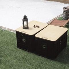제이픽스 캄푸스 감성캠핑 렉탱큘러 수납박스 L + 자작상판