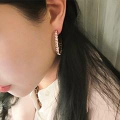스톤 큐빅 링 귀걸이