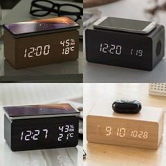 4종 무선충전 LED 탁상시계 우드 인테리어 무소음 디지털 전자 알람