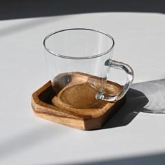 롬우드 팔각 원목 컵받침_(1784029)