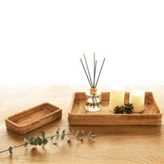라탄 사각 주방 소품정리 쟁반 트레이 (직사각 소)