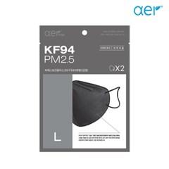 아에르 KF94  씨에스 보건용 마스크 대형(L) 블랙 10매입