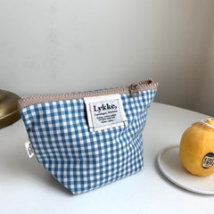 Lykke Gingham Check Pouch_sky
