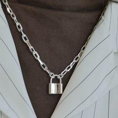 빅 자물쇠목걸이 925순은 볼드 실버체인 목걸이 레터링 자물쇠목걸이