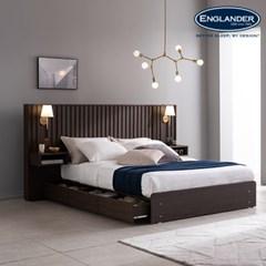 마벨 호텔형 수납 침대(NEW E호텔 양모 7존 독립매트-Q)+조명협탁2EA