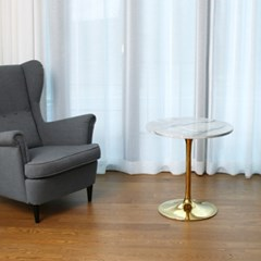 MDF 마블 대리석디자인 2인용 원형 골드 티 테이블_(1587905)