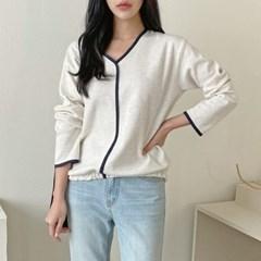 여자 깔끔한 라인 배색 시보리 밴딩 V넥 면 티셔츠