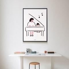 피아노 치는 아이2 M 유니크 인테리어 디자인 포스터