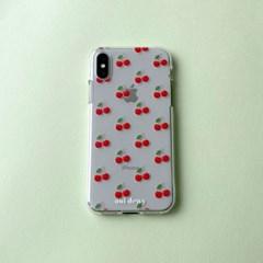 [아이폰] 몽땅 체리 패턴 투명 젤리 케이스
