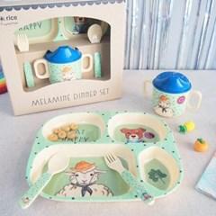 덴마크 유아식기 라이스 선물세트 4P 식판 스파우트컵 스푼 포크