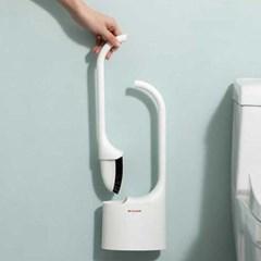 2in1 욕실 실리콘 물빠짐 변기솔 변기세척솔