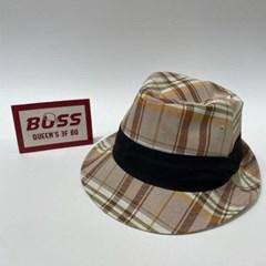 체크 챙넓은 소라 데일리 패션 페도라 중절모 모자