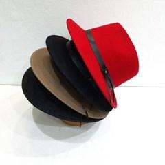 가죽띠 블랙 챙넓은 데일리 패션 페도라 중절모 모자