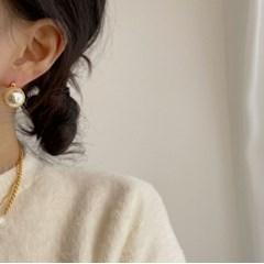 진주볼 원터치 링 귀걸이 (2colors)