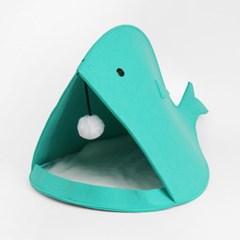 고래모양 고양이 하우스(민트)/ 장난감 펫하우스