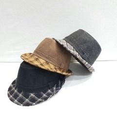 챙넓은 체크 블랙 그레이 패션 페도라 중절모 모자