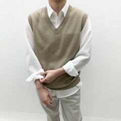봄 남자 루즈핏 V넥 레이어드 기본 무지 니트조끼