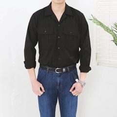 봄 남자 루즈핏 오픈카라넥 핀턱 빅포켓 사파리 셔츠