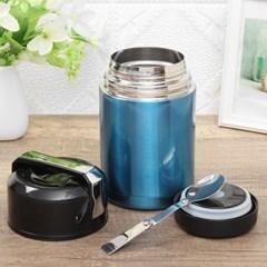 이지쿠킹 간편조리 보온죽통(수저포함) (1L) (블루)