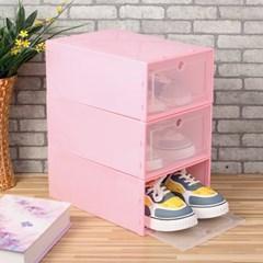 슈박스 신발정리함 3p세트(대) (핑크)/ 구두 신발보관