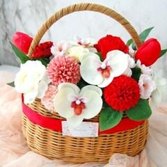 비누꽃 서양난 꽃바구니 레드 빨강색 부모님 명절선물
