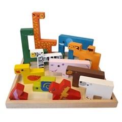 안전한 어린이집 교구 사고력 창의력 시각발달 동물 테트리스 블럭